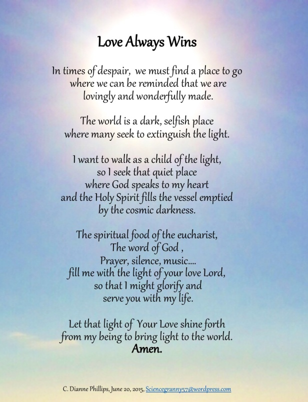 Love Always Wins – personal reflective prayer inspired by the Holy Spirit |  Sciencegranny